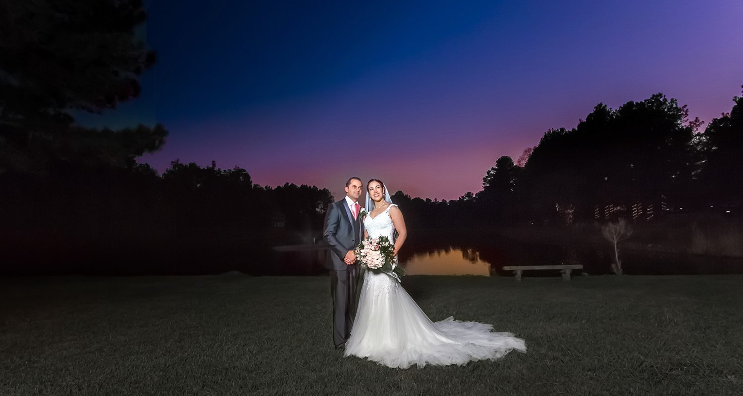 Wedding bride and groom dramatic portrait | Wedding photographer Raleigh NC
