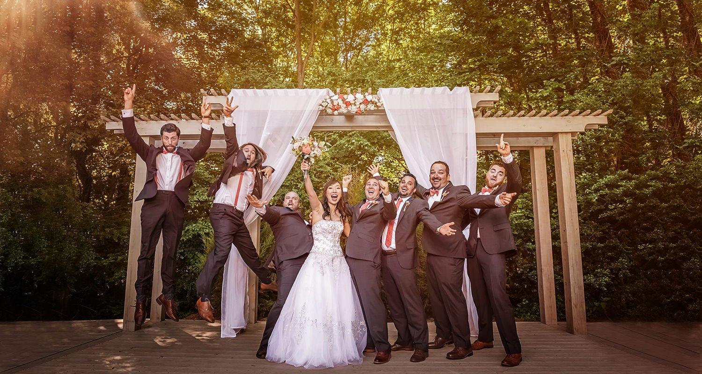 Wedding party celebrating | Wedding photographer Raleigh NC