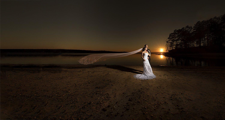 Wedding bride and groom sunset portrait | Wedding photographer Raleigh NC