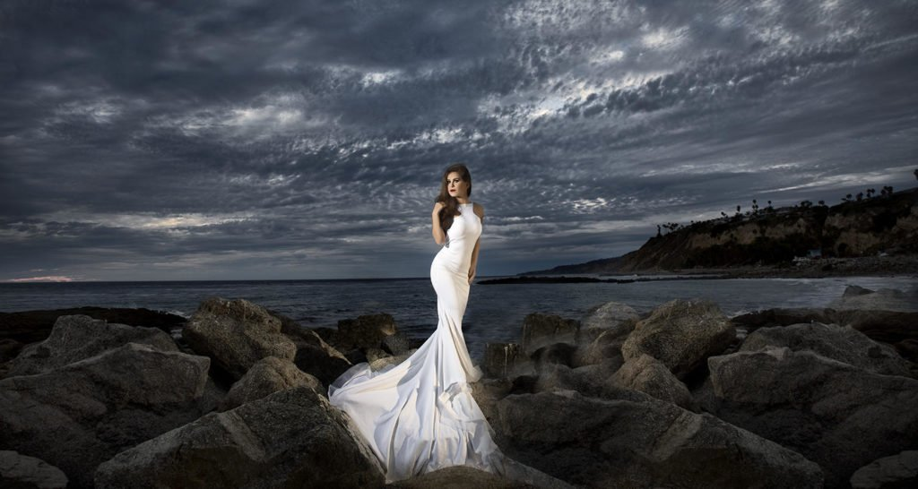 Wedding bride portrait at the beach   Wedding photographer Raleigh NC