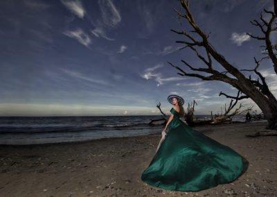 High school senior girl big dress on the beach  | Wedding photographer Raleigh NC