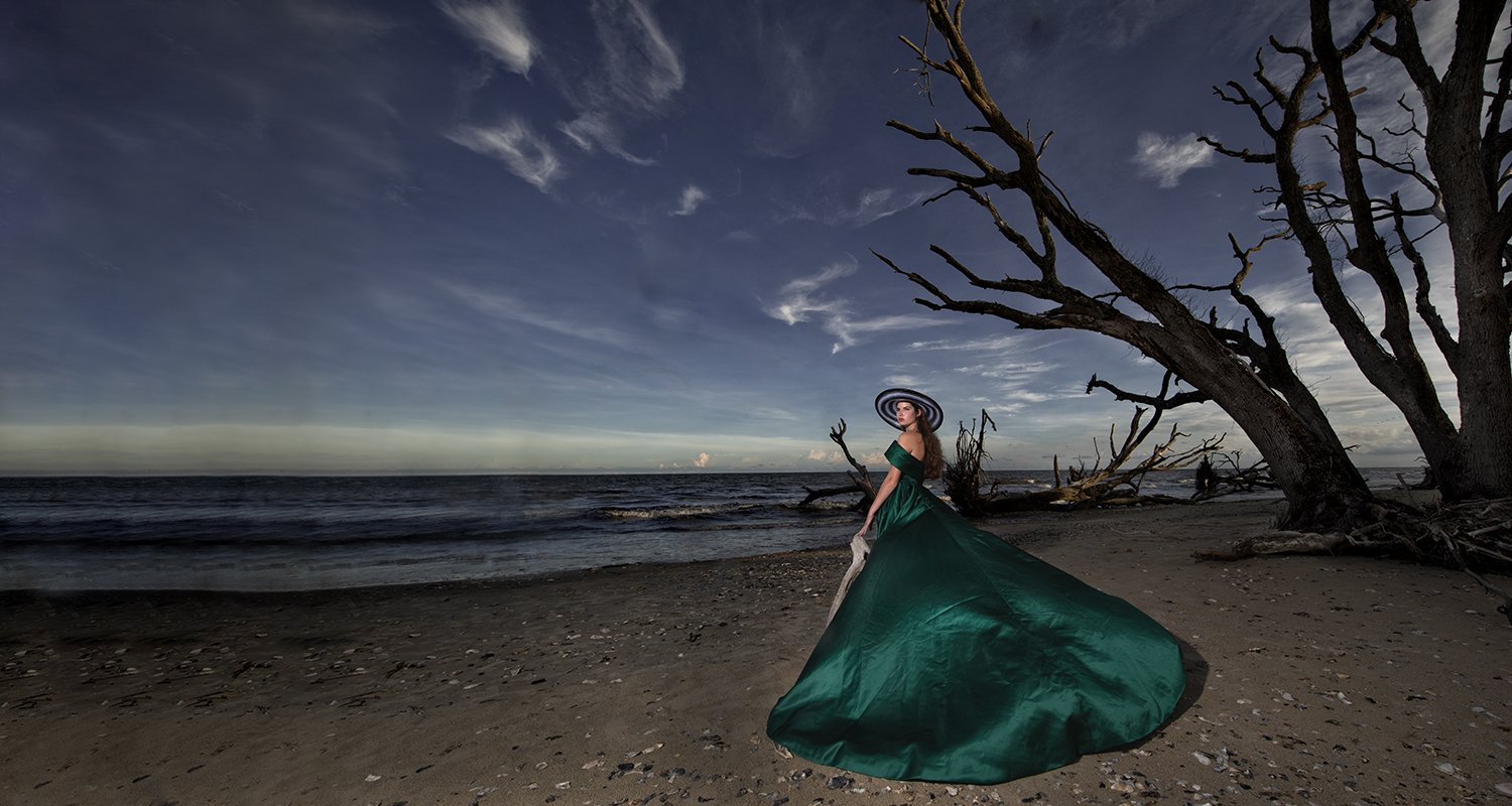 High school senior girl big dress on the beach  | Wedding photographer Raleigh NC