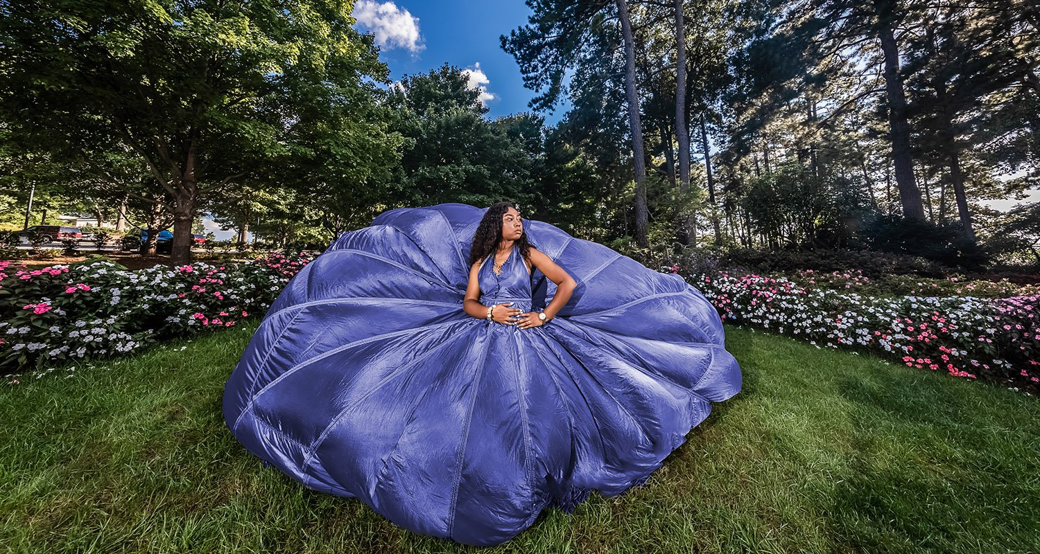 High school senior girl wearing parachute dress  | Wedding photographer raleigh NC