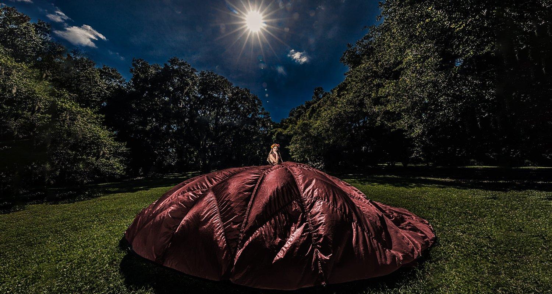 High school senior girl on red parachute dress | Wedding photographer Raleigh NC
