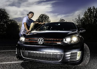 High school senior make with his car  | Wedding photographer Raleigh NC