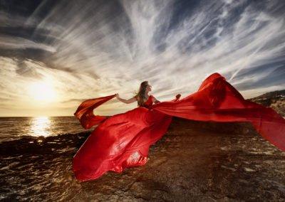 Dramatic high school senior girl on red dress  | Wedding photographer Raleigh NC