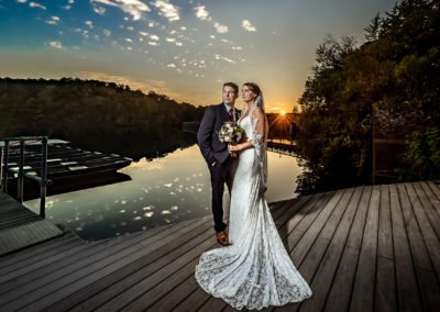 Dramatic bride and groom portrait sunset    | Wedding photographer Raleigh NC