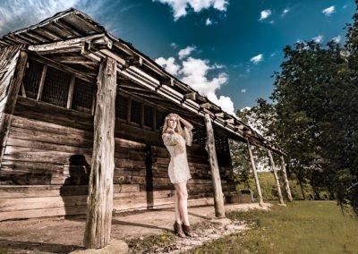 High school senior girl cottage and blue skies  | Wedding photographer raleigh NC