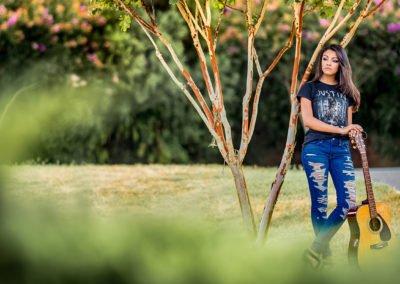 High school senior girl with guitar  | Wedding photographer raleigh NC