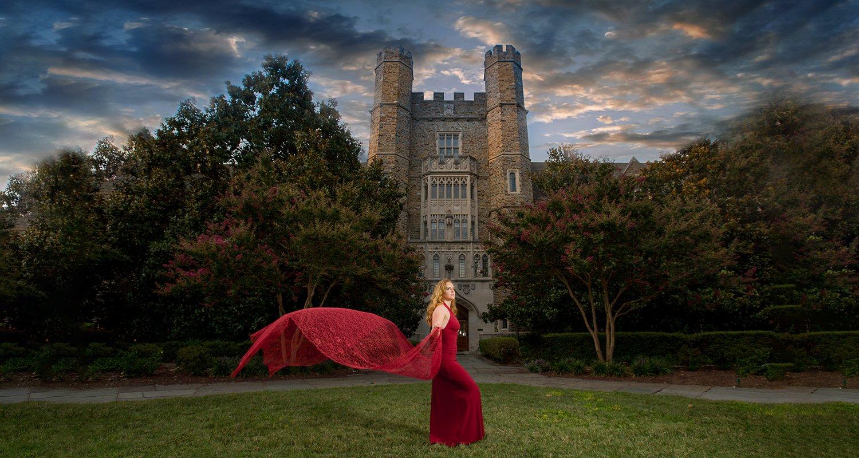High school senior girl wearing flowing red dress  | Wedding photographer Raleigh NC