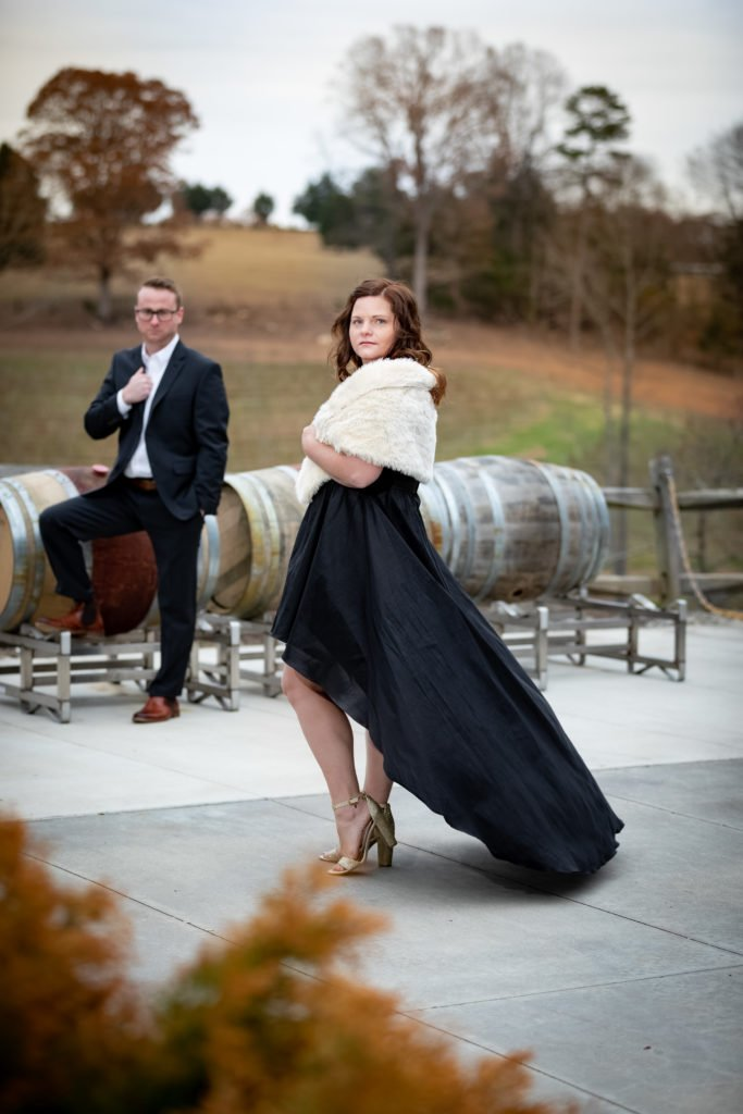 Engagement couple portrait nicely dressed | Wedding photographer Raleigh NC