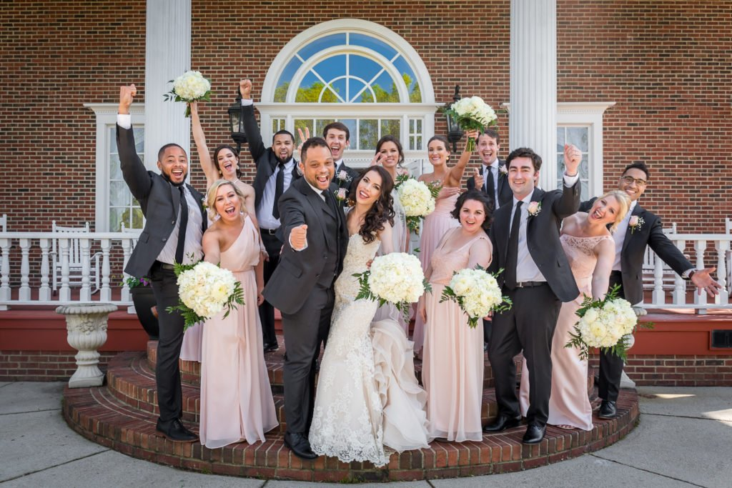 Bride and groom fun picture with wedding party | Wedding photographer Raleigh NC | The Garden on Millbrook wedding