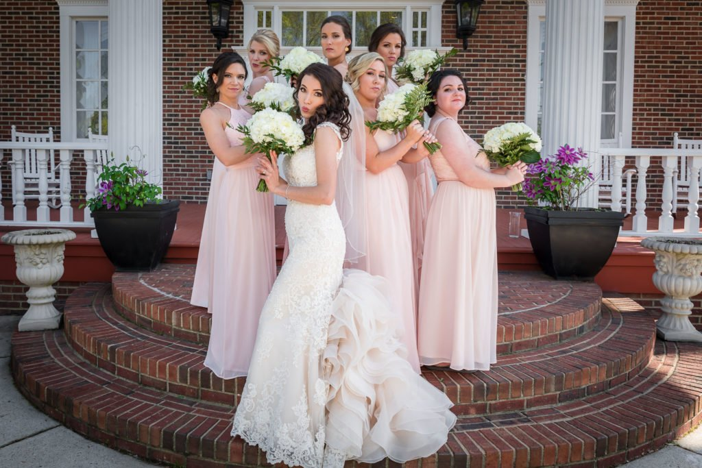 Bride portrait with bridesmaids | Wedding photographer Raleigh NC | The Garden on Millbrook wedding