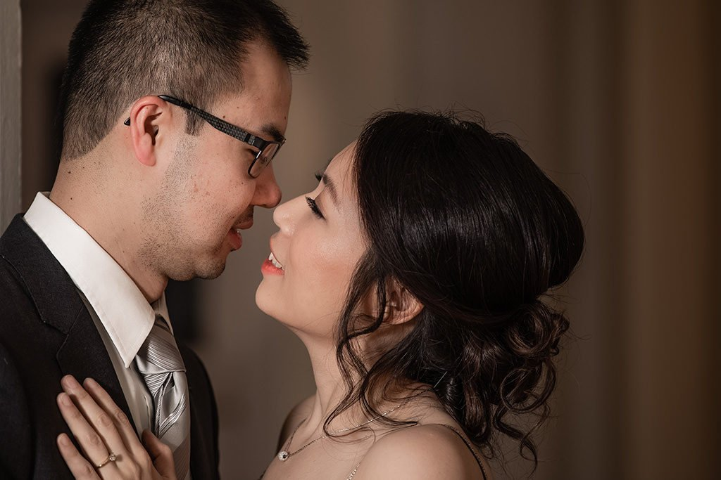 Engagement portrait. Couple looking at each other   Wedding photographer Raleigh NC
