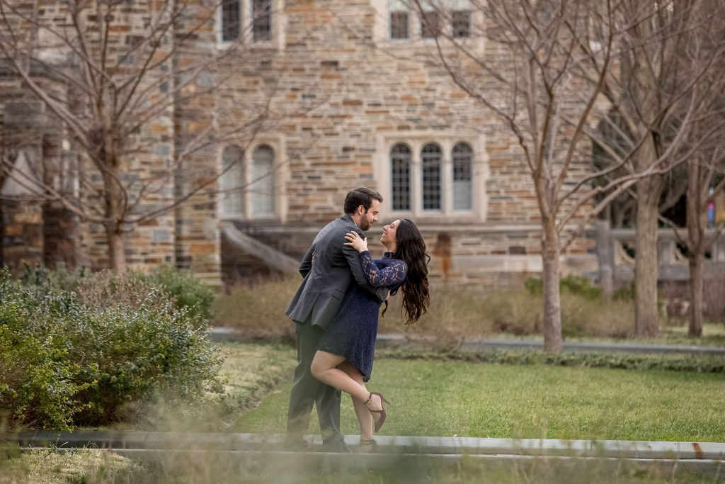 happy-couple-practcing-first-dance-at-duke-chapel-durham-nc