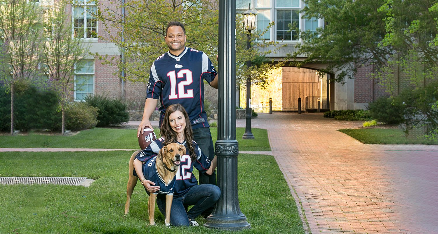 Engagement couples portrait with dog | Raleigh wedding photographer
