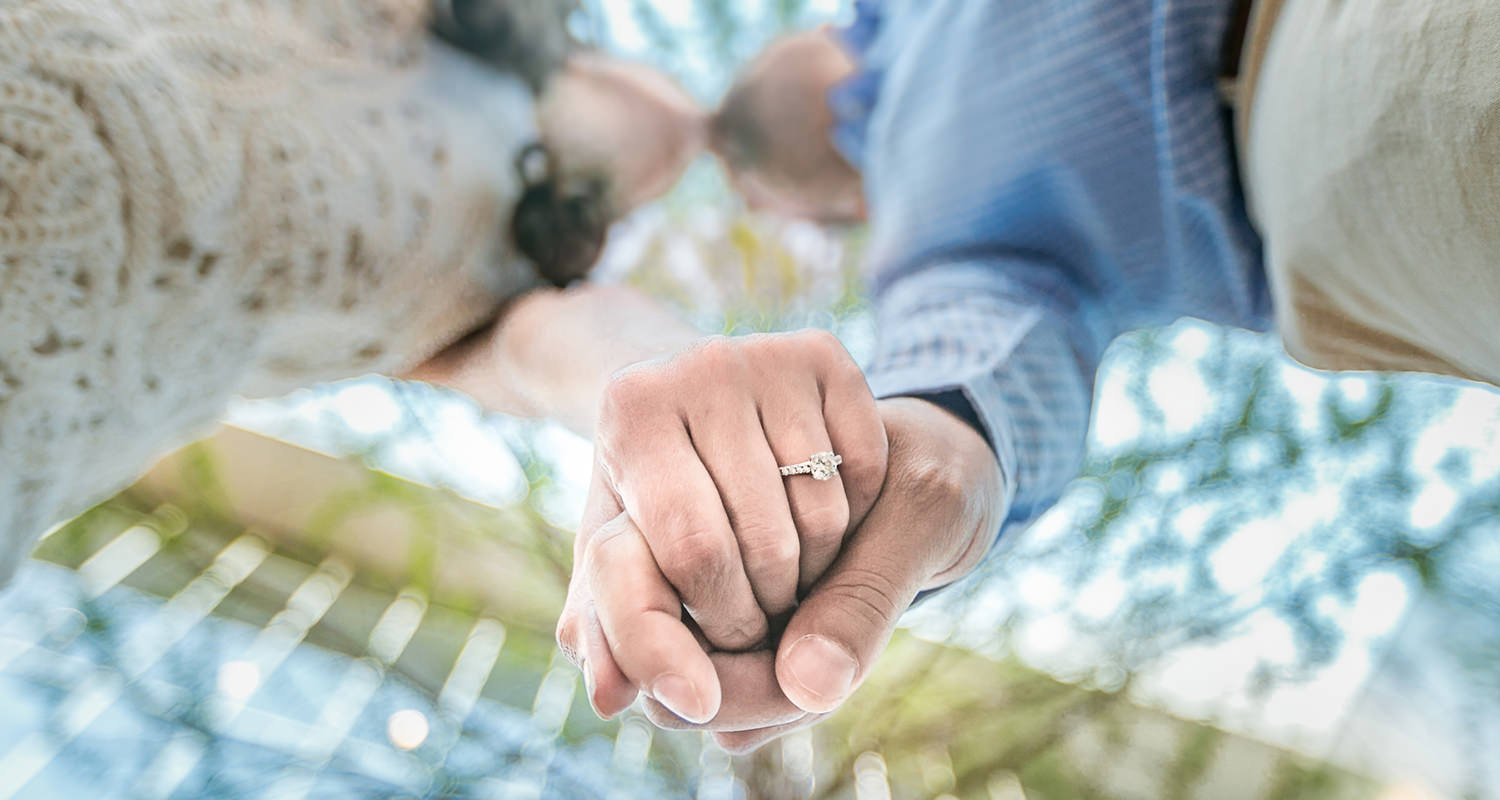 Engagement couples portrait holding hands | Raleigh wedding photographer