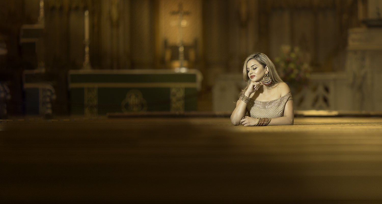 Girl on church portrait | Raleigh wedding photographer