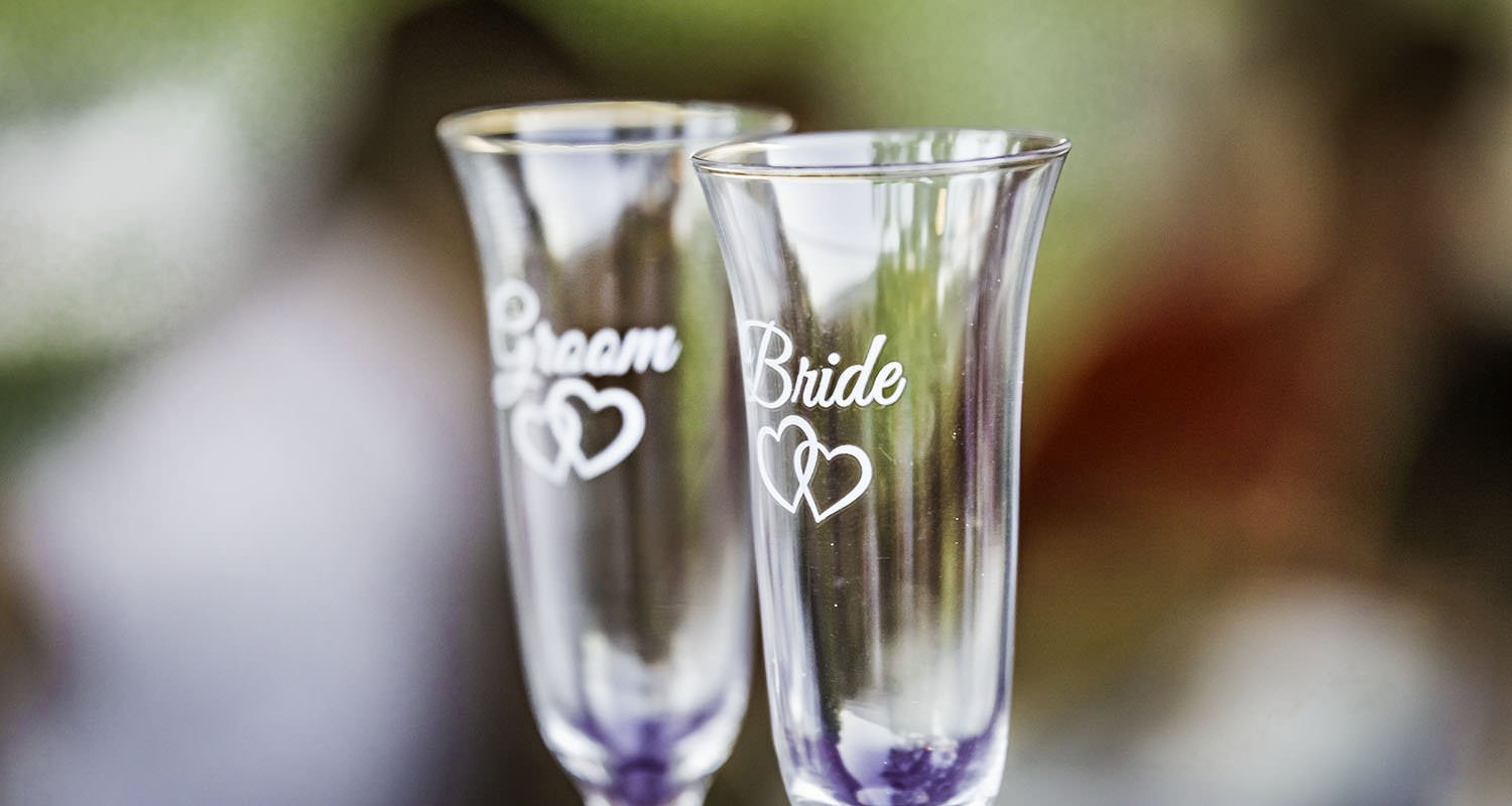 Bride and groom champagne glasses | Raleigh wedding photographer