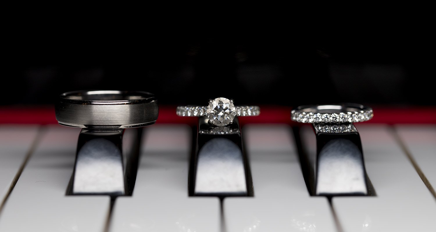 Rings details on piano keys | Raleigh wedding photographer