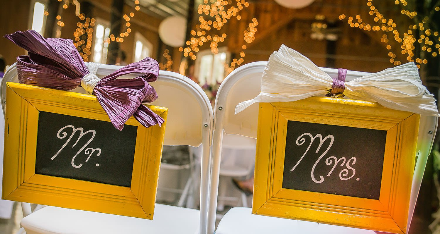 Mr. and Mrs. wedding signs on back of chairs | Raleigh wedding photographer